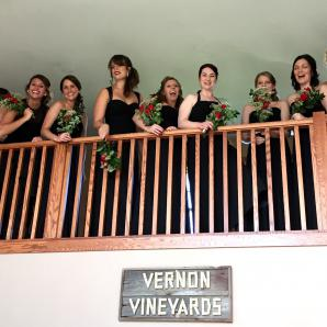 Bridesmaids exiting the Bride's Lounge at Vernon Vineyards, for another beautiful wedding at Pedretti's Party Barn, Viroqua (Pigney 2015)